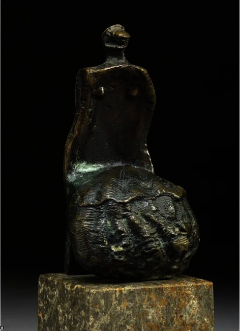 Seated Woman, Shell Skirt, Oil by Henry Moore (1898-1986, United Kingdom)