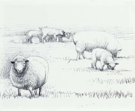 Sheep in Landscape, Oil by Henry Moore (1898-1986, United Kingdom)