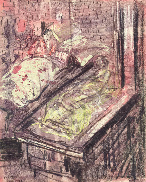 Shelter Drawing; Three Sleeping Figures by Henry Moore (1898-1986, United Kingdom) | Art Reproduction | ArtsDot.com