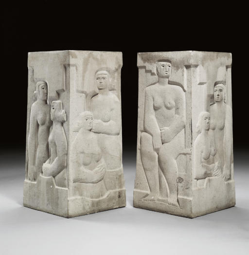 Six Garden Reliefs, Oil by Henry Moore (1898-1986, United Kingdom)