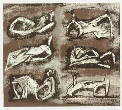 Six Reclining Figures 1, Drawing by Henry Moore (1898-1986, United Kingdom)
