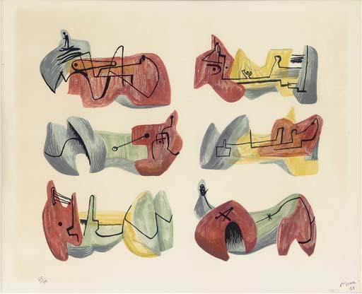 Six reclining figures 2, Oil by Henry Moore (1898-1986, United Kingdom)