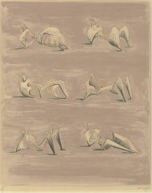 Six Reclining Figures 3 by Henry Moore (1898-1986, United Kingdom) | Museum Art Reproductions | ArtsDot.com