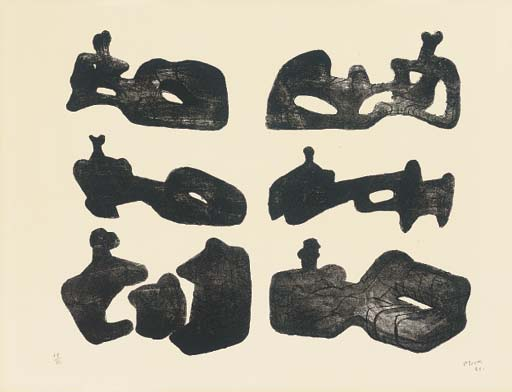 Six reclining Figures 4, Engraving by Henry Moore (1898-1986, United Kingdom)