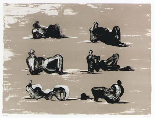 Six Reclining Figures 5, Oil by Henry Moore (1898-1986, United Kingdom)