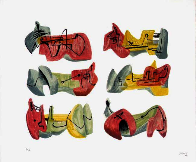 Six Reclining Figures 6 by Henry Moore (1898-1986, United Kingdom) | Oil Painting | ArtsDot.com