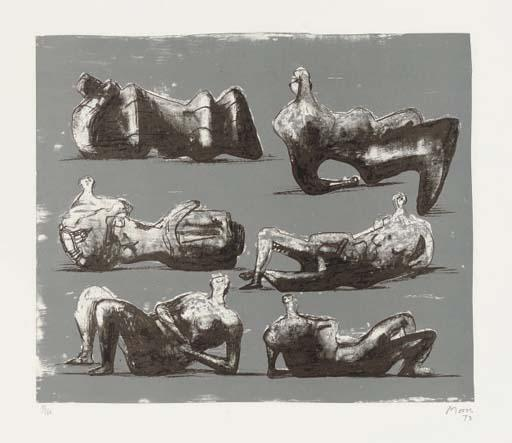 Six Reclining Figures, Drawing by Henry Moore (1898-1986, United Kingdom)