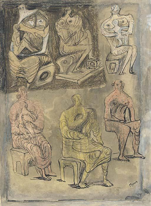 Six seated Women, four holding Children, Drawing by Henry Moore (1898-1986, United Kingdom)
