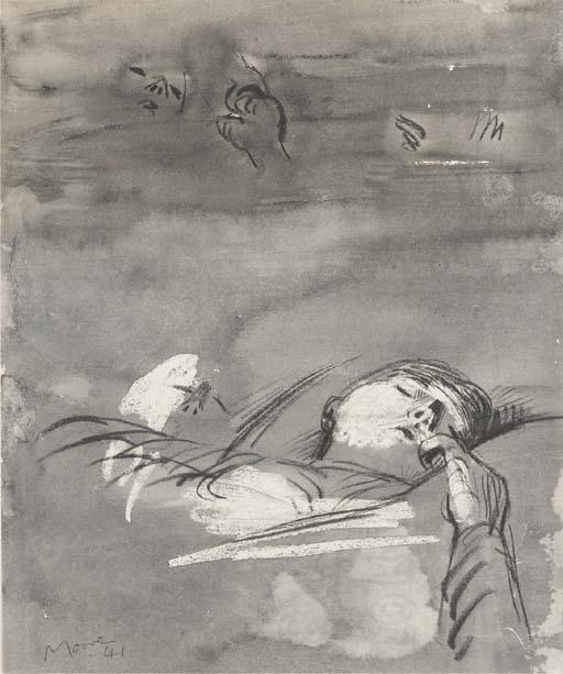 Sleeping Figure, Drawing by Henry Moore (1898-1986, United Kingdom)