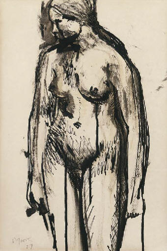 Standing female nude, Oil by Henry Moore (1898-1986, United Kingdom)