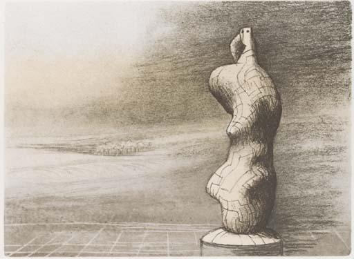 Standing Figure Storm Sky, Oil by Henry Moore  (order Fine Art Print on canvas Henry Moore)