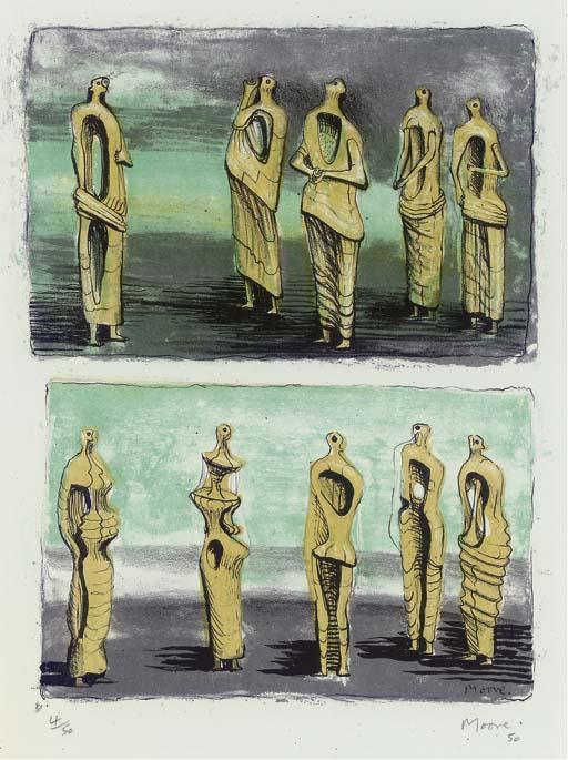 Standing Figures 2, Oil by Henry Moore (1898-1986, United Kingdom)