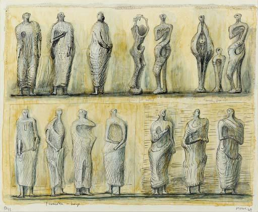 Standing Figures 4, Oil by Henry Moore (1898-1986, United Kingdom)