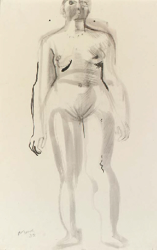 Standing Nude 1, Oil by Henry Moore (1898-1986, United Kingdom)