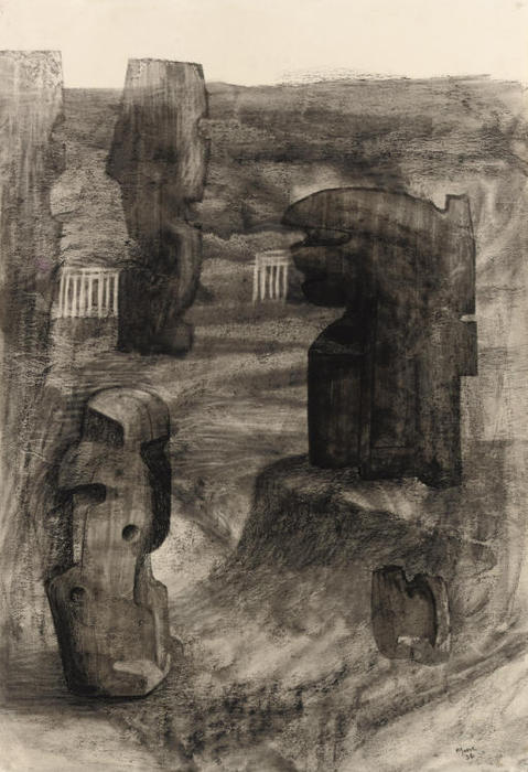 Stones in a landscape, Oil by Henry Moore (1898-1986, United Kingdom)