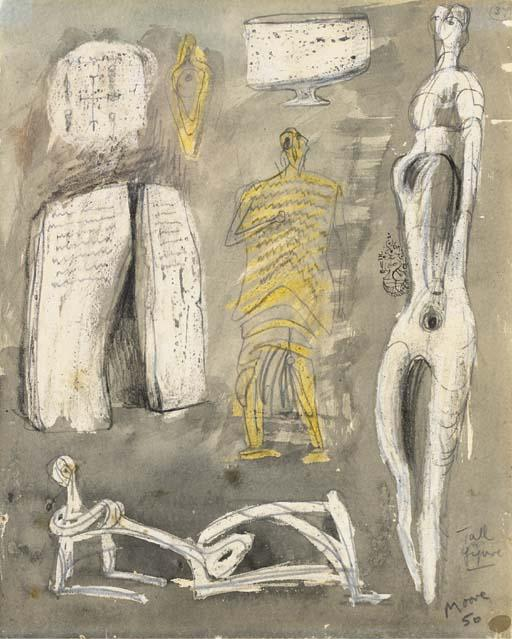 Tall Figure, Drawing by Henry Moore (1898-1986, United Kingdom)