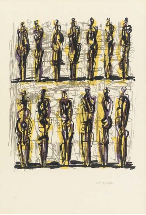 Thirteen Standing Figures, Oil by Henry Moore (1898-1986, United Kingdom)