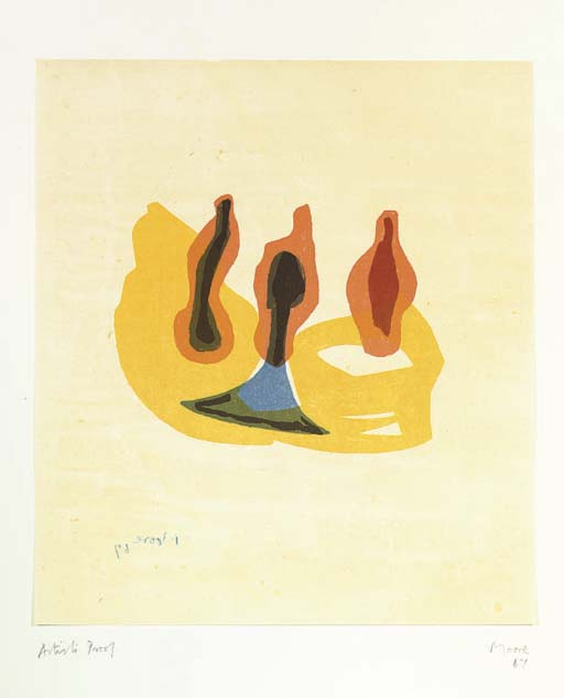 Three Forms in Orange and Yellow, Oil by Henry Moore (1898-1986, United Kingdom)