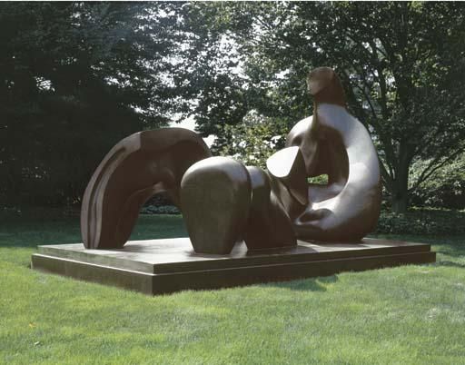 Three Piece Reclining Figure; Draped, Oil by Henry Moore (1898-1986, United Kingdom)