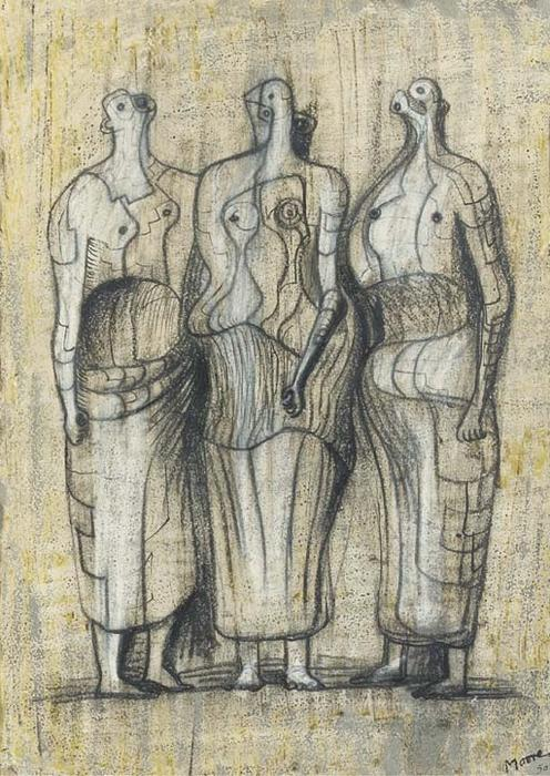 Three Standing Figures 1949, Oil by Henry Moore (1898-1986, United Kingdom)