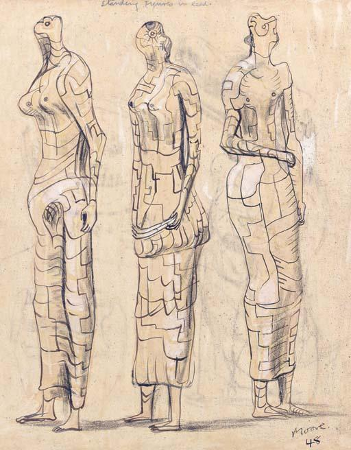 Three Standing Figures in Lead, Oil by Henry Moore (1898-1986, United Kingdom)