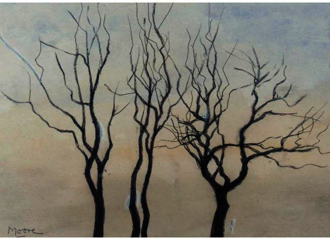 Three Trees, Oil by Henry Moore (1898-1986, United Kingdom)