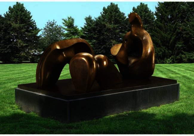 Three-Piece Reclining Figure; Draped, Oil by Henry Moore (1898-1986, United Kingdom)