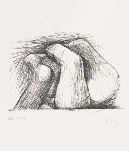 Two Forms, Oil by Henry Moore (1898-1986, United Kingdom)