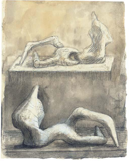 Two Reclining Figures 5 by Henry Moore (1898-1986, United Kingdom) | Museum Quality Reproductions | ArtsDot.com