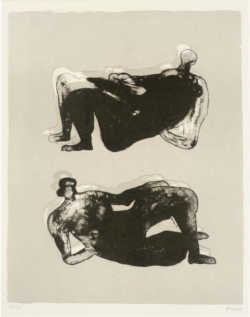 Two Reclining Figures 7, Oil by Henry Moore (1898-1986, United Kingdom)