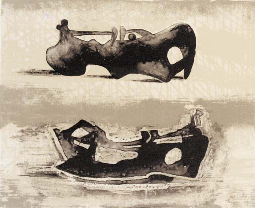 Two Reclining Figures 9, Oil by Henry Moore (1898-1986, United Kingdom)