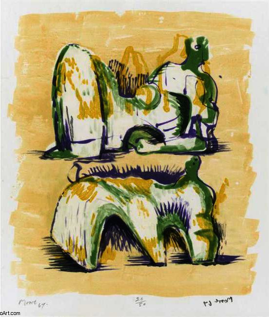 Two Reclining Figures In Yellow And Green, Engraving by Henry Moore (1898-1986, United Kingdom)