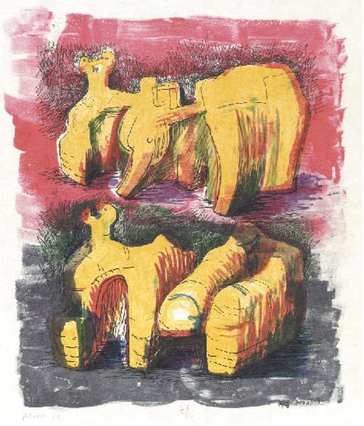 Two Reclining Figures in Yellow and Red, Oil by Henry Moore (1898-1986, United Kingdom)