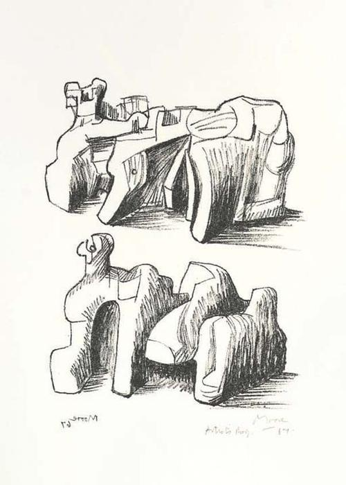 Two Rock Reclining Figures, Oil by Henry Moore (1898-1986, United Kingdom)