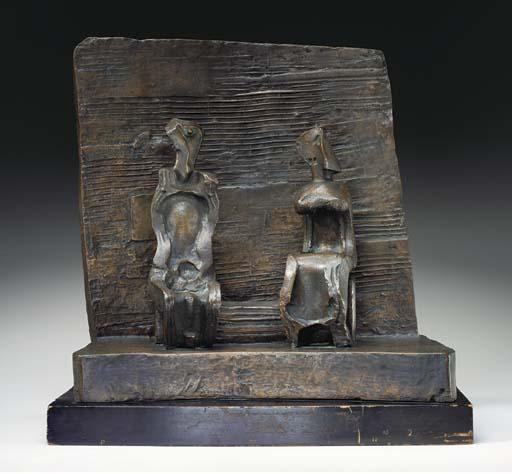Two Seated Figures against Wall by Henry Moore (1898-1986, United Kingdom) | Painting Copy | ArtsDot.com