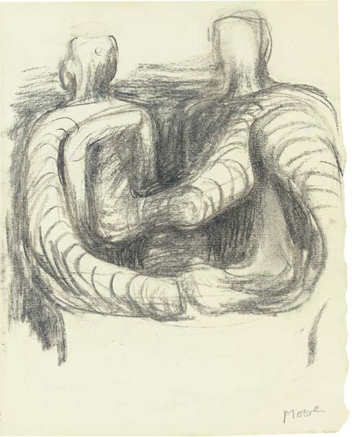 Two Seated Figures, Engraving by Henry Moore (1898-1986, United Kingdom)