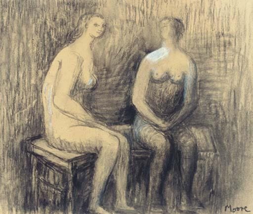 Two seated Women I, Engraving by Henry Moore (1898-1986, United Kingdom)