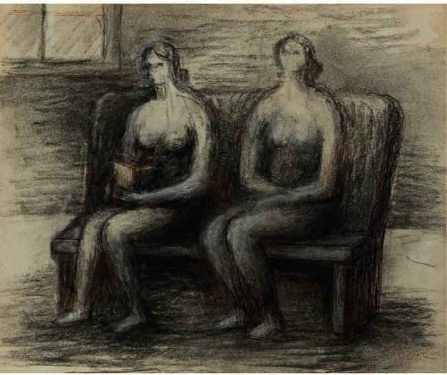 Two Seated Women In An Interior, Engraving by Henry Moore (1898-1986, United Kingdom)