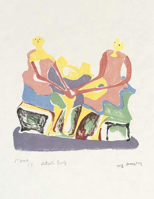 Two Seated Women by Henry Moore (1898-1986, United Kingdom) | ArtsDot.com
