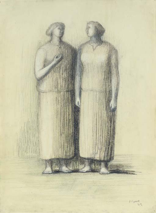 Two Women, Oil by Henry Moore (1898-1986, United Kingdom)
