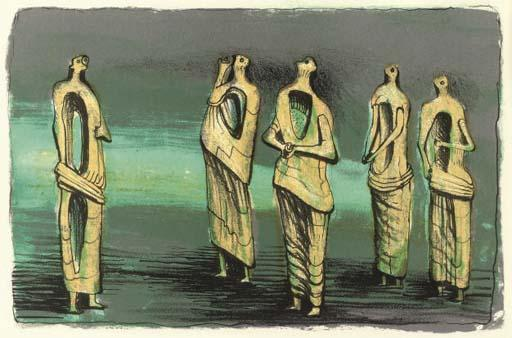 Upper half of Standing Figures diptych by Henry Moore (1898-1986, United Kingdom) | Painting Copy | ArtsDot.com