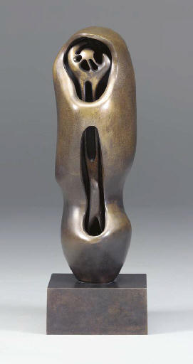 Upright Internal.External Form; Flower, Oil by Henry Moore (1898-1986, United Kingdom)