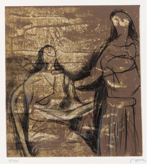 Visitation, Oil by Henry Moore (1898-1986, United Kingdom)
