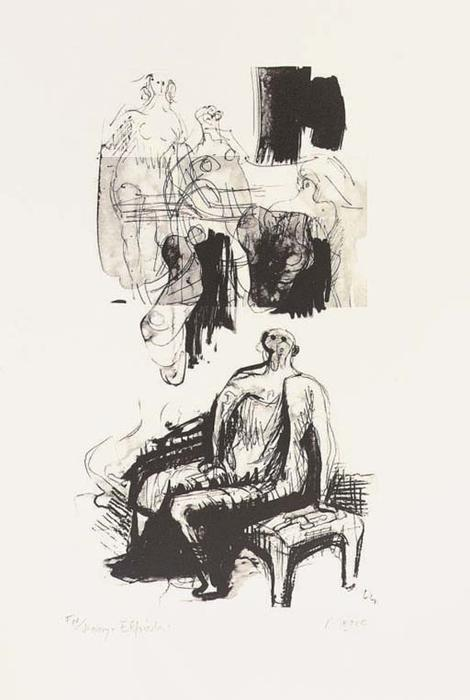 Woman Seated on Fireside Stool, Drawing by Henry Moore (1898-1986, United Kingdom)