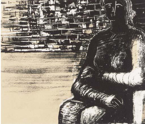Woman with arms crossed 1, Oil by Henry Moore (1898-1986, United Kingdom)