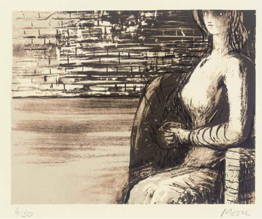 Woman with clasped hands by Henry Moore (1898-1986, United Kingdom) | Oil Painting | ArtsDot.com