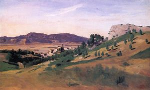 Jean Baptiste Camille Corot - Olevano, the Town and the Rocks