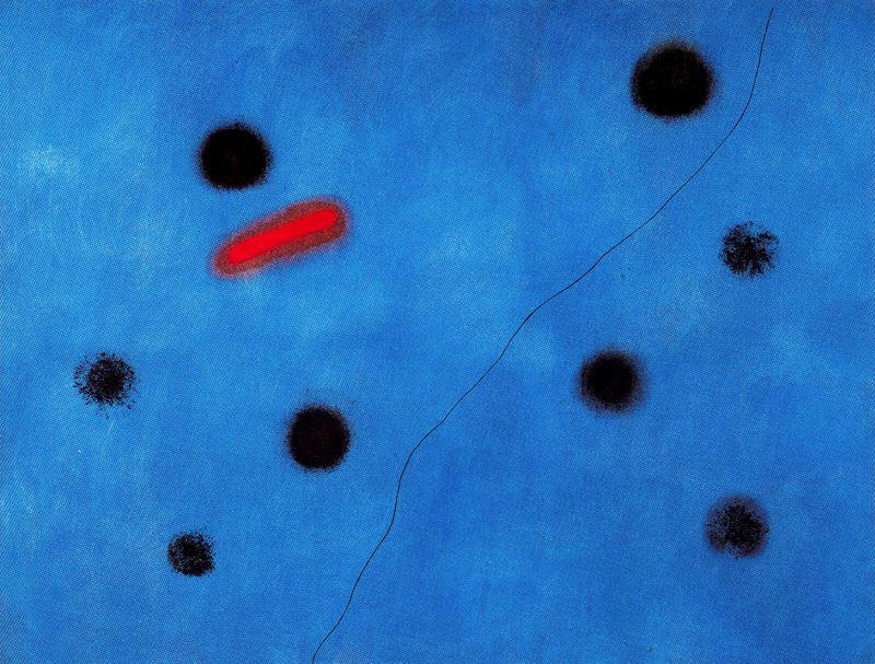 Azul I, Oil by Joan Miro (1893-1937, Spain)