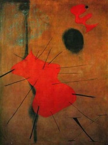 El punto rojo, Oil by Joan Miro (1893-1983, Spain)