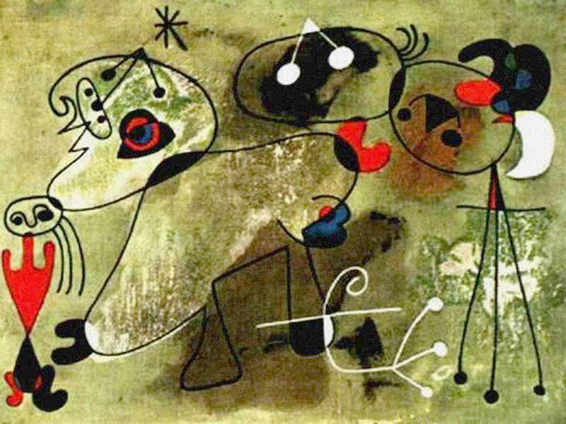 Fondo verde, Oil by Joan Miro (1893-1983, Spain)